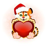 Beautiful little tiger with heart. Sign 2010 years is a beautiful little tiger with heart on background Vector Illustration