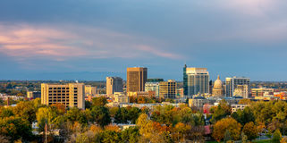 Beautiful little town of Boise Skyline in fall. The skyline of Boise Idaho with Autumn trees in full bloom Royalty Free Stock Image