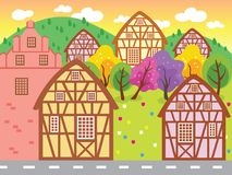 Beautiful Little Town Vector Illustration. For any purpose such as book cover or illustration, website, blog, social media, print on paper, carpet, canvas and royalty free illustration