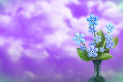 Beautiful live forage bouquet bouquet in ceramic vase with blank place for your text on left on cloudy sky background. Beautiful live forage bouquet bouquet in royalty free illustration