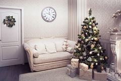 Beautiful living room with a Christmas Royalty Free Stock Photos