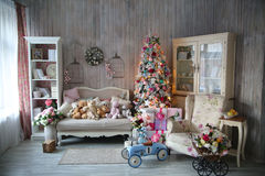 Beautiful living room decorated for Christmas Royalty Free Stock Images