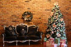 Beautiful living room decorated for Christmas Stock Photography
