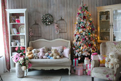 Beautiful living room decorated for Christmas Stock Image