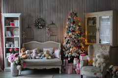 Beautiful living room decorated for Christmas Stock Images