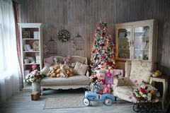 Beautiful living room decorated for Christmas Stock Photos