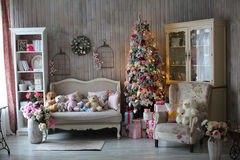 Beautiful living room decorated for Christmas Royalty Free Stock Image