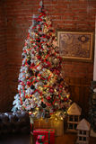 Beautiful living room decorated for Christmas. Christmas room interior decorations in studio Stock Photography