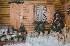 Beautiful living room decorated for Christmas. Christmas room interior decorations in studio Royalty Free Stock Image