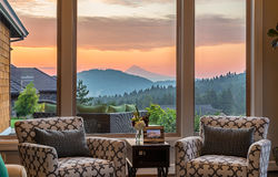 Beautiful Living Room Detail with Sunrise/Sunset View Stock Photos