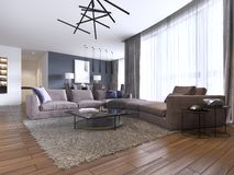 Beautiful living room interior with hardwood floors and large corner sofa violet color in new luxury home. Contemporary style stock illustration
