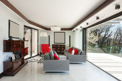 Beautiful living room of a luxury apartment Royalty Free Stock Photo