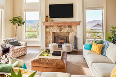 Beautiful living room in new luxury home Stock Photo