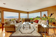 Beautiful living room with water view Royalty Free Stock Photos