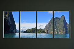 Beautiful location in window view. Of the wall of resort royalty free stock image