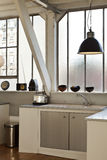 Beautiful loft. Interior, beautiful kitchen of an old loft Royalty Free Stock Photos