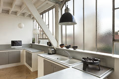 Beautiful loft. Interior, beautiful kitchen of an old loft Royalty Free Stock Image