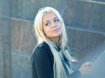 Beautiful lonely thoughtful girl. Beautiful lonely thoughtful blond girl royalty free stock image