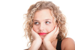 Beautiful long blond curly hair of young attractive woman Stock Photography