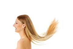 Beautiful long blonde hair, isolated on white. Royalty Free Stock Photos