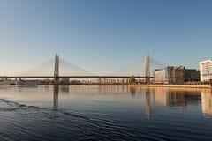 Road bridge across the river. royalty free stock photo