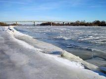 River Atmata and bridge in winter, Lithuania Stock Photos
