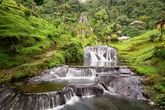 Waterfall. Beautiful long exposure view of the waterfall near the Santa Rosa Thermal Spa in Santa Rosa de Cabal in Colombia stock image