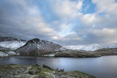 Beautiful long exposure Winter landscape image of Llyn y Dywarch Royalty Free Stock Photos