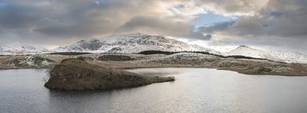 Beautiful long exposure Winter landscape image of Llyn y Dywarch Stock Image