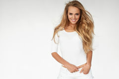 _ With Beautiful Long för sexig kvinnamodell blont hår royaltyfri fotografi
