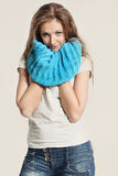Beautiful girl in a blue scarf Royalty Free Stock Photo