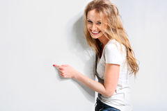 Beautiful girl on a white background Stock Photo