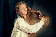 Beautiful long hair blonde girl wearing  nightgown Royalty Free Stock Photography