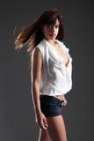Beautiful long hair brunette mixed race girl stock photo