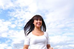 Beautiful long hair brunette sky Stock Photography