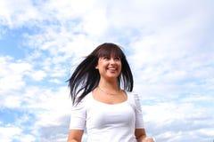 Beautiful long hair brunette sky Stock Photography
