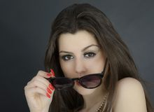 Beautiful long hair brunette woman wearing sunglasses portrait, Stock Photos