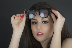 Beautiful long hair brunette woman wearing sunglasses portrait, Stock Photo