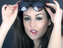 Beautiful long hair brunette woman wearing sunglasses portrait, Royalty Free Stock Photo