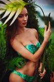 Beautiful long hair female model Stock Photos