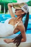 Beautiful long hair female model Royalty Free Stock Photography