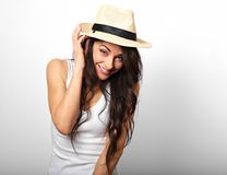 Beautiful long hair fun laughing woman in white top and straw ha Stock Photography
