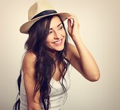 Beautiful long hair laughing woman in white top and straw hat lo Royalty Free Stock Photos