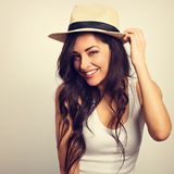 Beautiful long hair laBeautiful long hair laughing woman in whit Royalty Free Stock Images