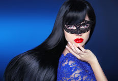 Beautiful long Hair. Makeup. Girl. Manicure. stock photography