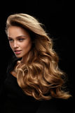 Beautiful Long Hair. Woman Model With Blonde Curly Hair stock photos