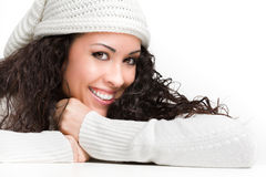 Beautiful long hair woman smiling. On white background Royalty Free Stock Images
