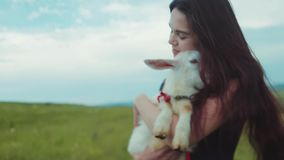 Beautiful long-haired brunette woman holds on her hands white goat kid, kisses it, smiles, pets and strokes it. Loving. Nature, green peace. Playful mood, being stock video footage