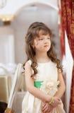 Beautiful long-haired girl posing in smart dress Stock Image