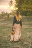 Beautiful long-haired girl with violin in nature park during sunset time Royalty Free Stock Image